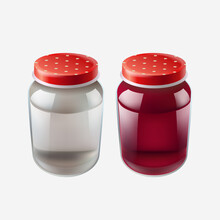 Two Isolated Realistic Jars With Red Caps