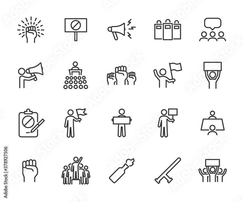 Vector set of protest line icons Wallpaper Mural