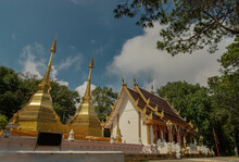 Two Golden Pagodas Or Stupa Mae Sai In Phra That Doi Tung Temple (Wat Phra That Doi Tung). Buddhist Monastery And Temple Of Public. Chiang Rai Province Thailand.
