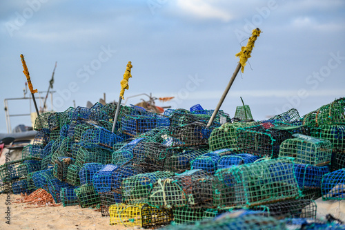 Pile of fishing nets and cages Fototapet