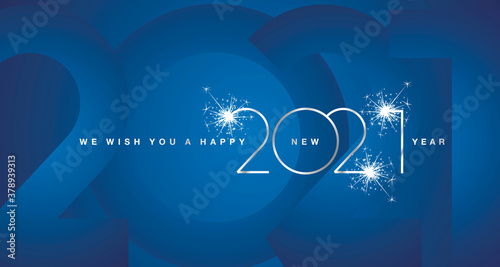 Fototapeta We wish You Happy New Year 2021 silver modern design shining light typography sparkle fireworks numbers blue greeting card obraz