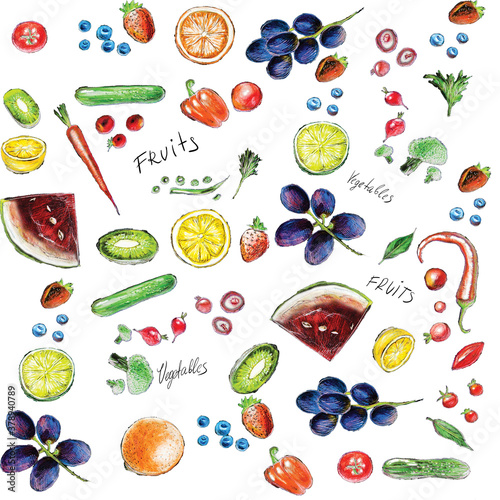 Organic food seamless pattern. Hand drawn fruit and vegetables.