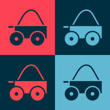Pop Art Wooden Four-wheel Cart With Hay Icon Isolated On Color Background.  Vector.