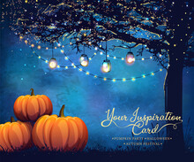 Autumn Poster With Holiday Bulbs And Pumpkins For Party, Halloween Or Festival.