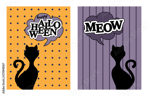 Black cat silhouette vector say meow and happy halloween Canvas Print