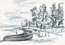 River Bank With Trees And Boat...