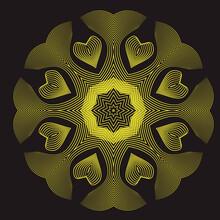 Yellow Striped Hearts Mandala ...