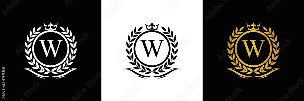 Fototapeta Golden Letter W laurel wreath template logo Luxury gold letter with crown. Monogram alphabet . Beautiful royal initials letter.