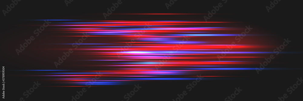 Fototapeta Bright glowing lines on a dark background. Optical speed concept.