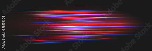 Bright glowing lines on a dark background. Optical speed concept. Canvas