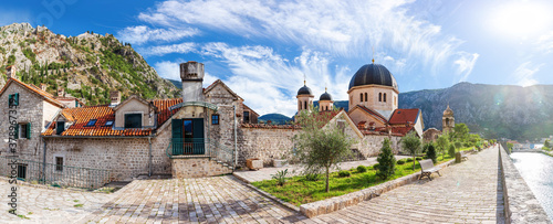 Church of St. Nicholas, Kotor, sunny panorama, Montenegro