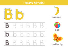 Tracing Alphabet Letter B With Cute Cartoon Pictures.