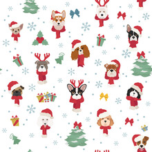 Dog Portraits In Santa Hats And Scarves. Christmas Holiday Seamless Pattern
