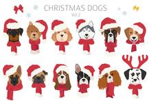 Dog Portraits In Santa Hats An...