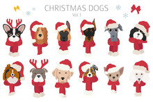Dog Portraits In Santa Hats And Scarves. Christmas Holiday Design