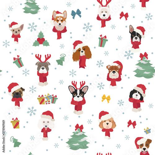 Fototapeta Dog portraits in Santa hats and scarves. Christmas holiday seamless pattern obraz