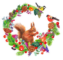 Watercolor Colorful Christmas Composition With Squirrel, Forest Birds, Cones, Wreath And Branches Tree. White Background.