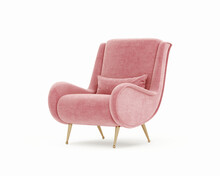 3d Rendering Of An Isolated Pink Salmon Red Modern Mid Century Lounge Armchair