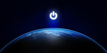Earth Hour, Ecology And Environment Concept : Blue Planet Earth In The Space With Electric Power Button For Earth Hour Event. (Elements Of This Image Furnished By NASA.)