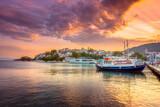 The old harbor of Chora in island Skiathos, Greece