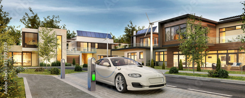 Fotografie, Obraz Modern houses with solar panels and electric car