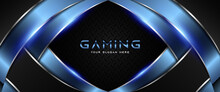 Futuristic Blue And Black Abstract Gaming Banner Design With Metal Technology Concept. Vector Illustration For Business Corporate Promotion, Game Header Social Media, Live Streaming Background