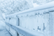 Frozen Fence In Winter. Huge I...