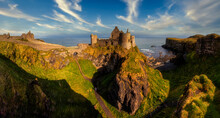 Dunluce Castle Is A Medieval Castle In Bushmills Northern Ireland - Big Panorama