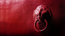 Close Up Face Of Steel Lion Angle Knock Door In Chinese Traditional