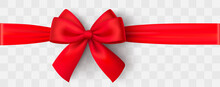 Realistic Red Bow And Ribbon. ...