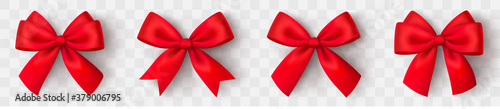 Realistic red bow. Christmas shiny red satin ribbon. New year gift. Decorative red satin ribbon and bow with shadow on transparent background - stock vector.