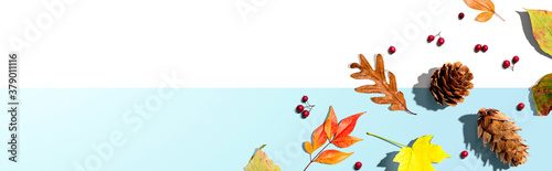 Slika na platnu Colorful autumn leaves with pinecones overhead view - flat lay