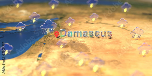 Tela Stormy weather icons near Damascus city on the map, weather forecast related 3D