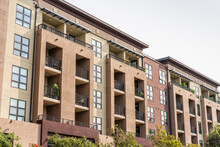 Exterior View Of Modern Apartment Building Offering Luxury Rental Units In Silicon Valley; Redwood City, San Francisco Bay Area, California