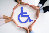 Fototapeta Kawa jest smaczna - Disabled Icon. Worker Injury And Disability