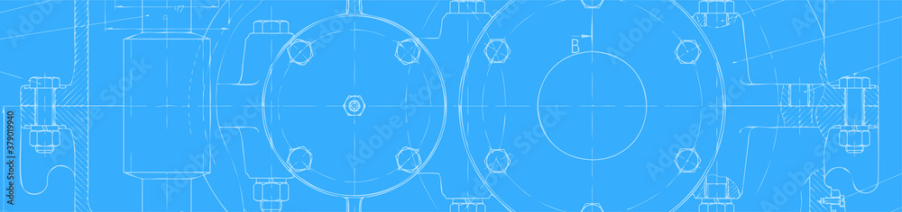 Fototapeta Technical drawing of the reducer on blueprint paper banner. Vector engineering background