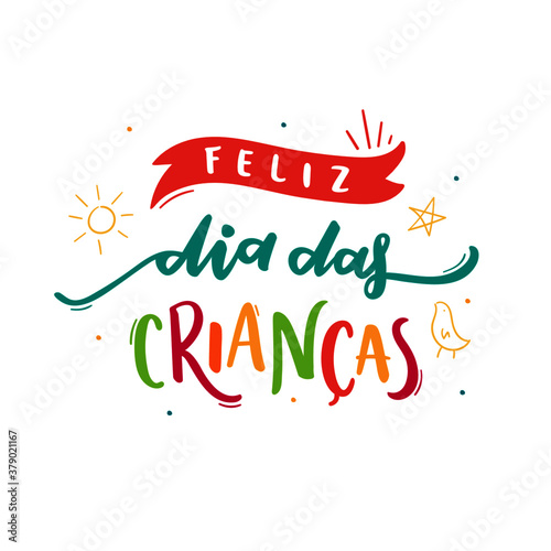 Fototapeta Feliz Dia Das Crianças. Happy Children's Day. Brazilian Portuguese Hand Lettering with children drawing. Vector. obraz