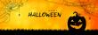 Happy Halloween pumpkin silhouette banner background illustration vector