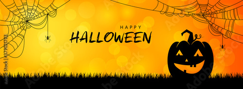 Fototapeta Happy Halloween pumpkin silhouette banner background illustration vector obraz