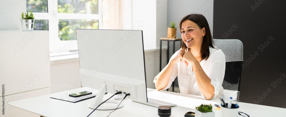 Fototapeta Young Happy Business Woman