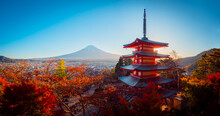 Panorama Of Kawaguchiko On A Sunny Autumn Day. Kawaguchiko Mountain Area. Golden Autumn In Japan. Chureito Pagoda In Fujiyoshida. City At The Foot Of Mount Fuji. Pagoda And Autumn Trees In Japan.