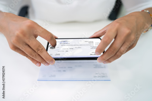 Remote Check Deposit Using Phone Canvas