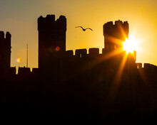 Caernarfon Castle At Sunset In North Wales, UK