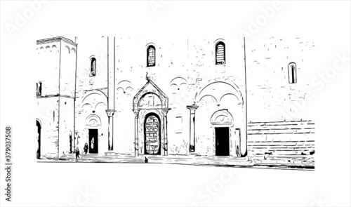 Building view with landmark of Bari is a port city on the Adriatic Sea. Hand drawn sketch illustration in vector.