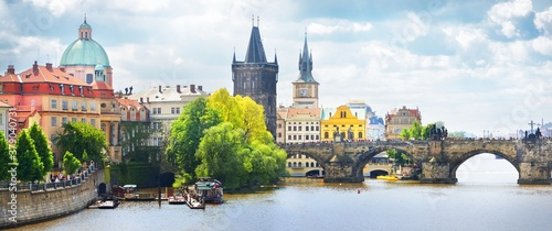 Fototapeta Picturesque panoramic view of the Old town in Prague, Czech republic. Culture and religion, national landmark, travel destinations, sightseeing, summer vacations obraz