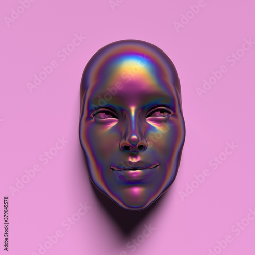 Canvas Abstract 3D render illustration of holographic human face in the wall, robotic head made of glossy iridescent material