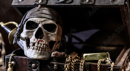 Fotomural Pirate with human skull