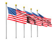 Leinwandbild Motiv Five fluttering stars and stripes on a white background created by 3d rendering