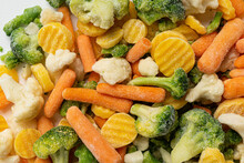 Frozen Vegetables On The White...