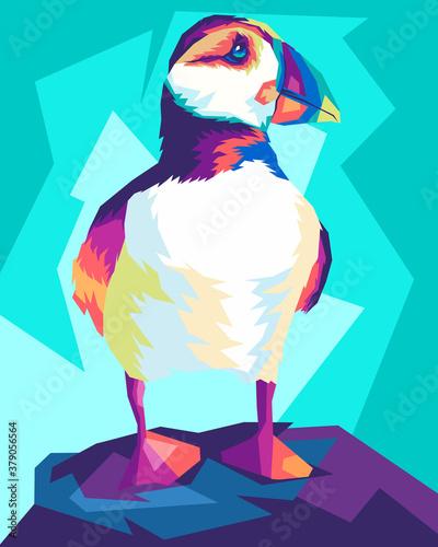 Obraz na płótnie colorful puffin in style pop art illustartion vector